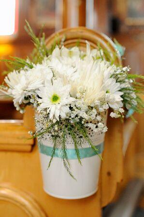 Lush White Pew Decorations