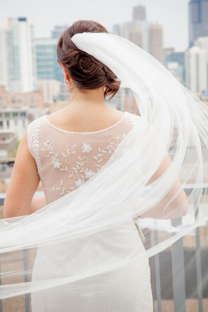 White Beaded Pronovias Wedding Dress With Sheer Back