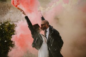Modern Couple with Leather Jackets and Smoke Bombs
