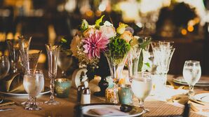 Floral Centerpieces with Dahlias and Bells of Ireland