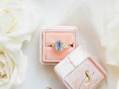 light blue non-diamond engagement ring