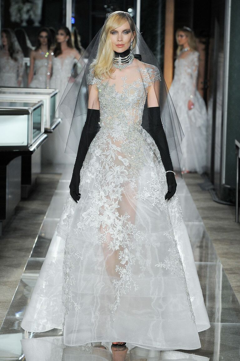 Reem Acra Wedding Dress with black sleeves