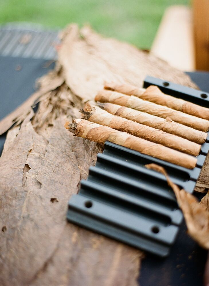 The couple treated their guests to a hand rolled cigars, a Southern tradition.