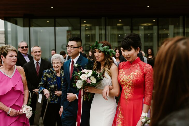 Bridal Processional with Father and Mother in Vietnamese Gown