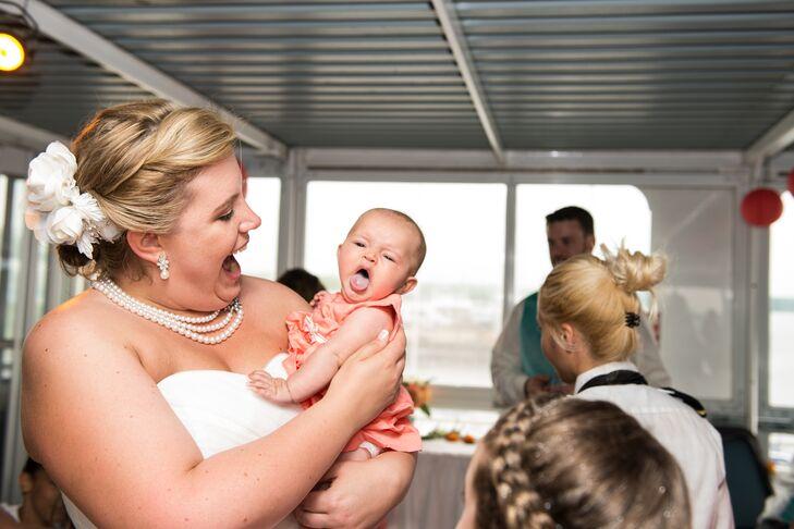 Happy Bride and Adorable Baby Candid Shot