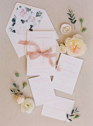 Pink-and-White Invitations for Wedding at Carneros Inn in Napa, California