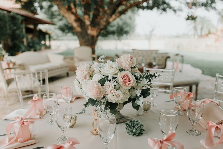 Romantic Centerpieces and Macaron Favors