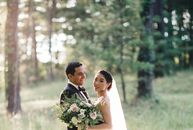 Consultants Yoko Matsumoto (29) and Andrew Gerba (30) opted for a venue in the Blue Ridge Mountains for their destination wedding so that guests could