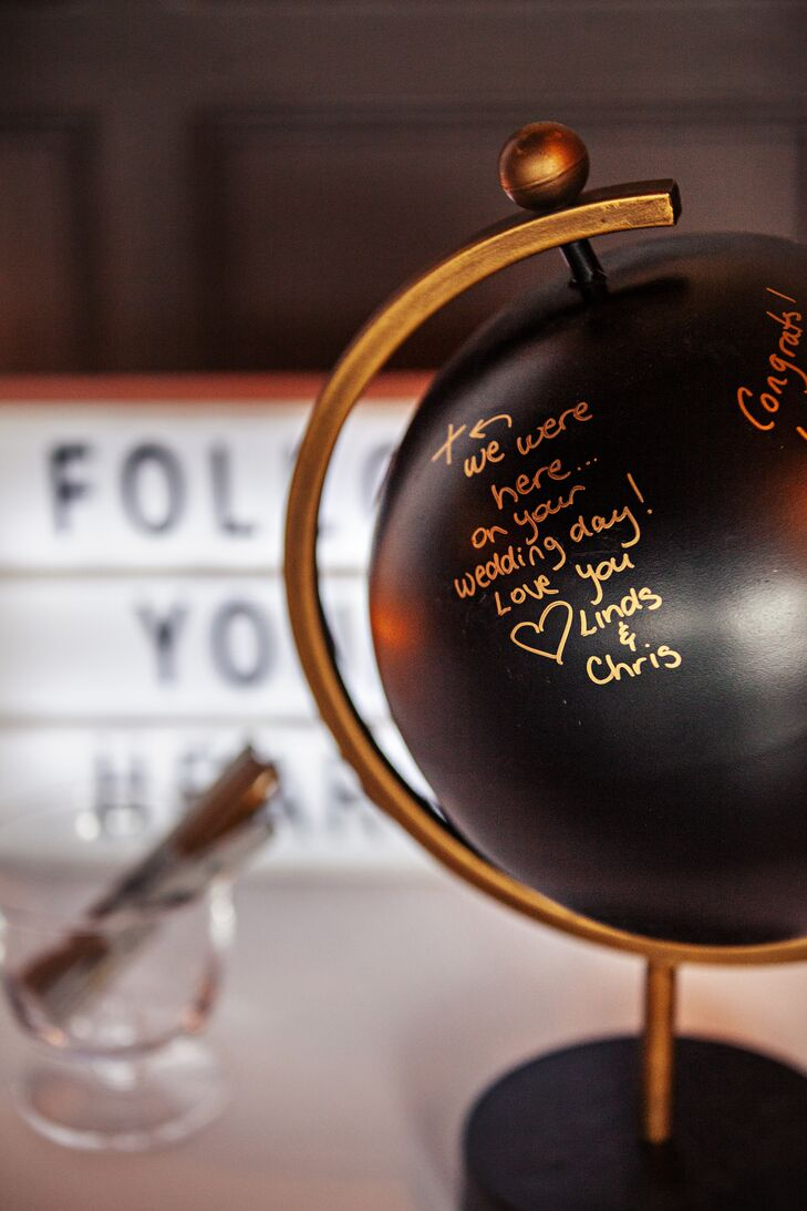 Black and Gold Globe Guest Book