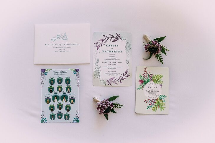 Illustrated Invitations for Wedding at Bissinger's in St. Louis, Missouri