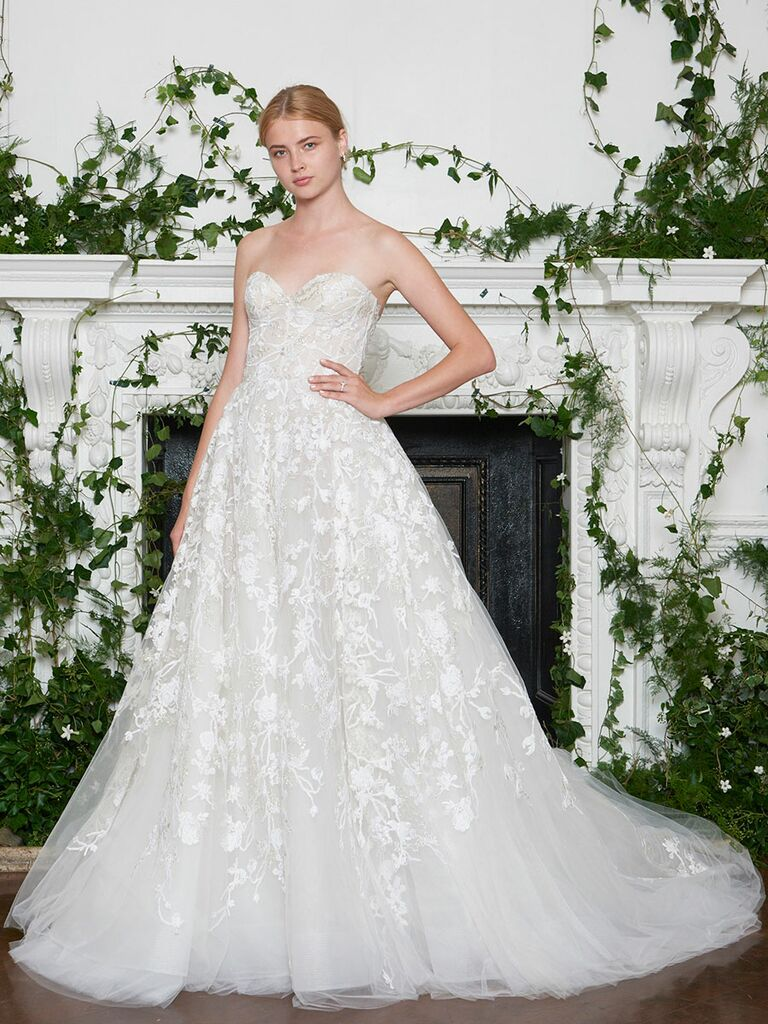 Monique Lhuillier Fall 2018 metallic floral embroidered strapless A-line wedding dress