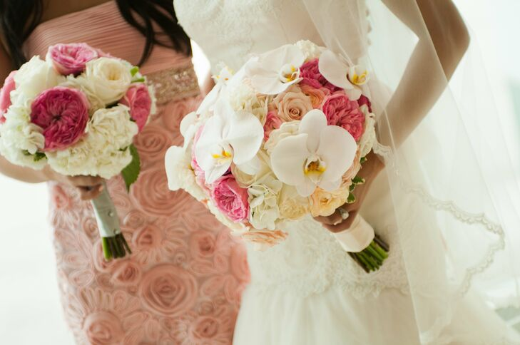 A mix of roses, dahlias and orchids lent a modern look to the bride's and bridesmaids' bouquets.