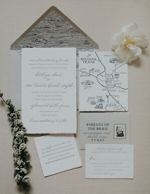 Rustic Invitation Suite with Illustrated Map and Envelope Liner