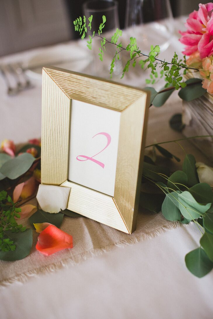 Gold-Framed Table Numbers
