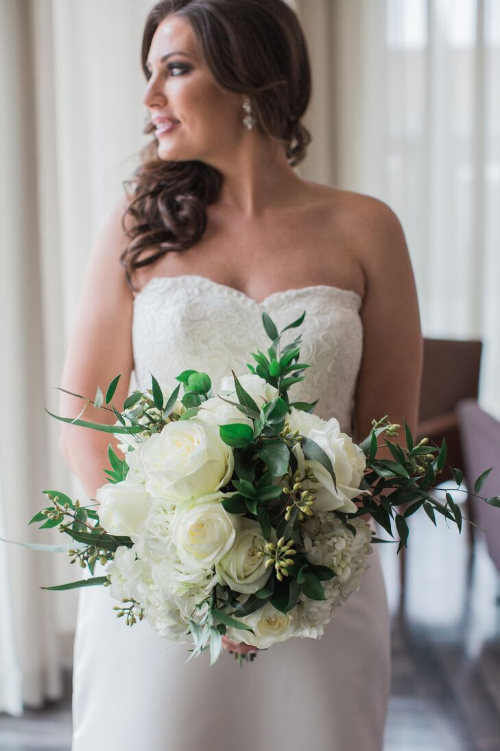 Classic Bouquet with White Hydrangeas, Peonies and Greenery