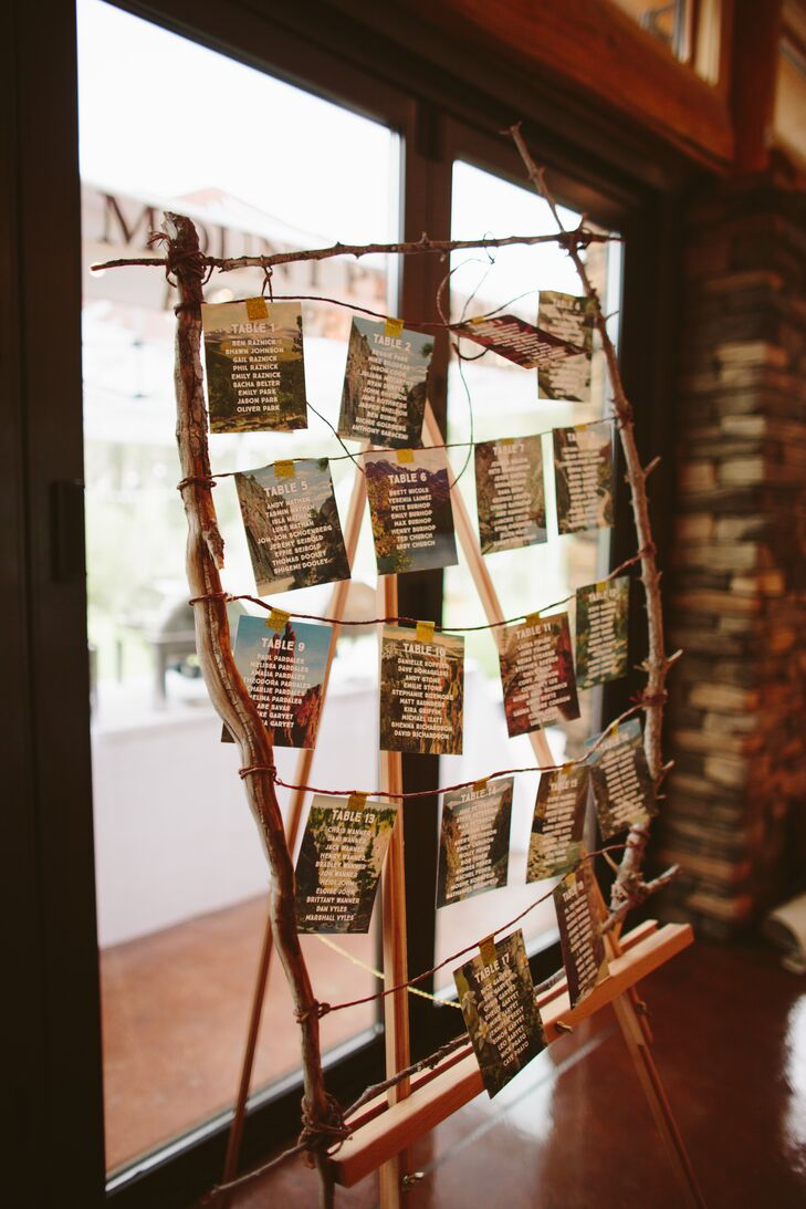 Vintage Photo Seating Chart in Rustic Wood Frame