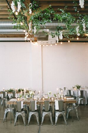 Modern Rustic Reception with Greenery and Candles