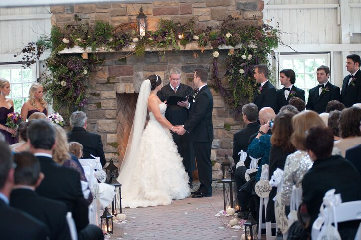 Bride and Groom at the Fireplace Altar