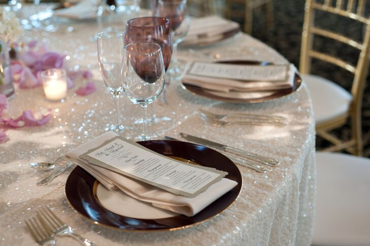 Eggplant Tinted China on a Sparkly Tablecloth