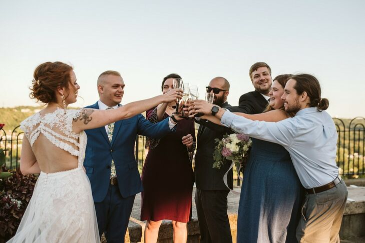 Modern Champagne Toast with Bride, Groom and Guests