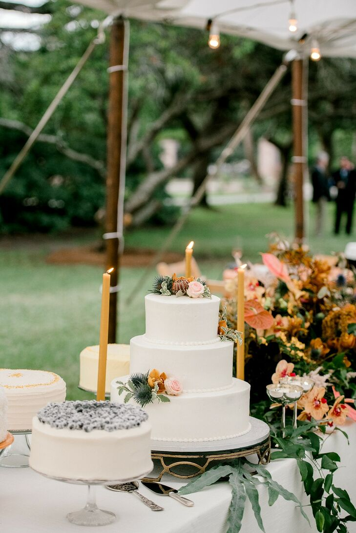 Cake with Single-Tiered Cakes, Multi-Tiered Cake and Candles