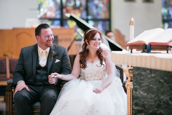 Beaming Bride and Groom at Church Ceremony