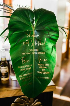 Tropical Leaf Sign with Gold Calligraphy