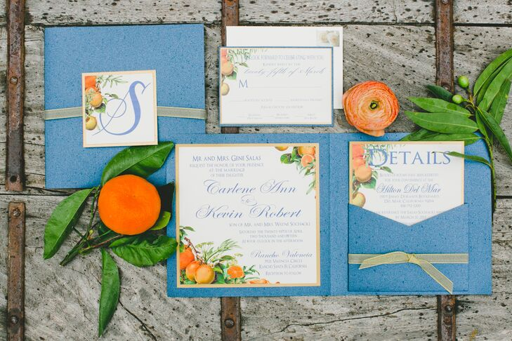 Custom invites touched on the event's California-centric citrus theme, with illustrations inspired by vintage fruit labels.