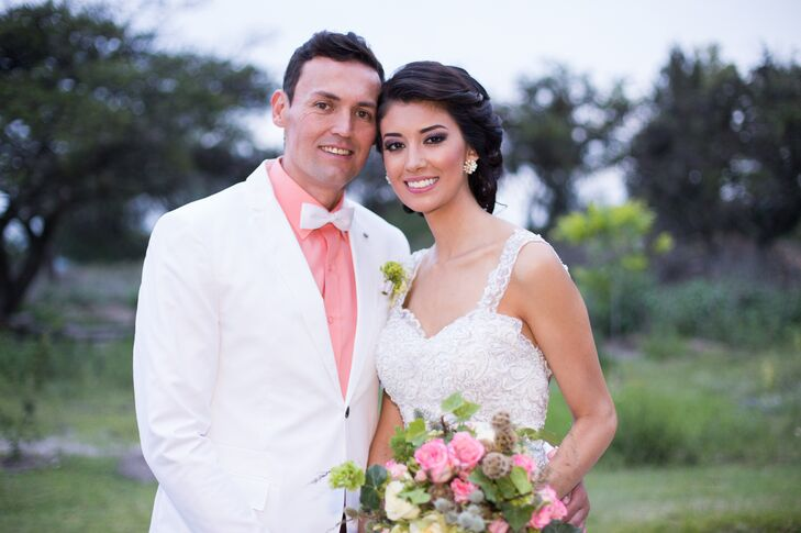 White Groom's Jacket With Coral Shirt
