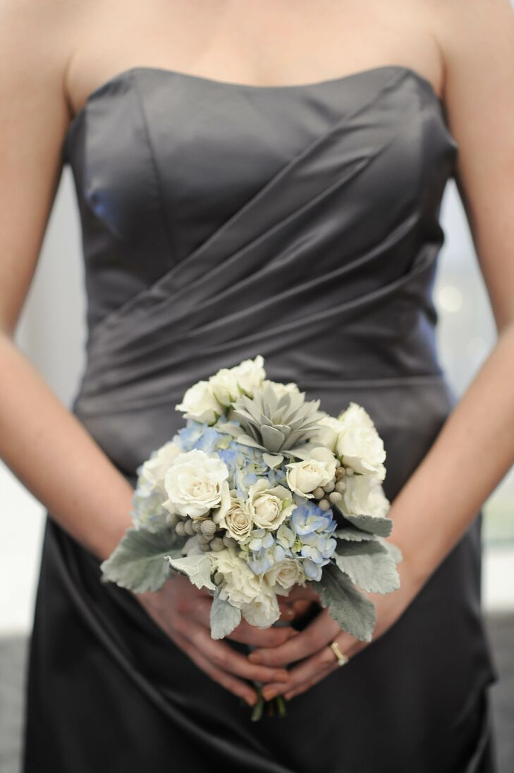 Wintry Hydrangea Rose and Succulent Bouquet