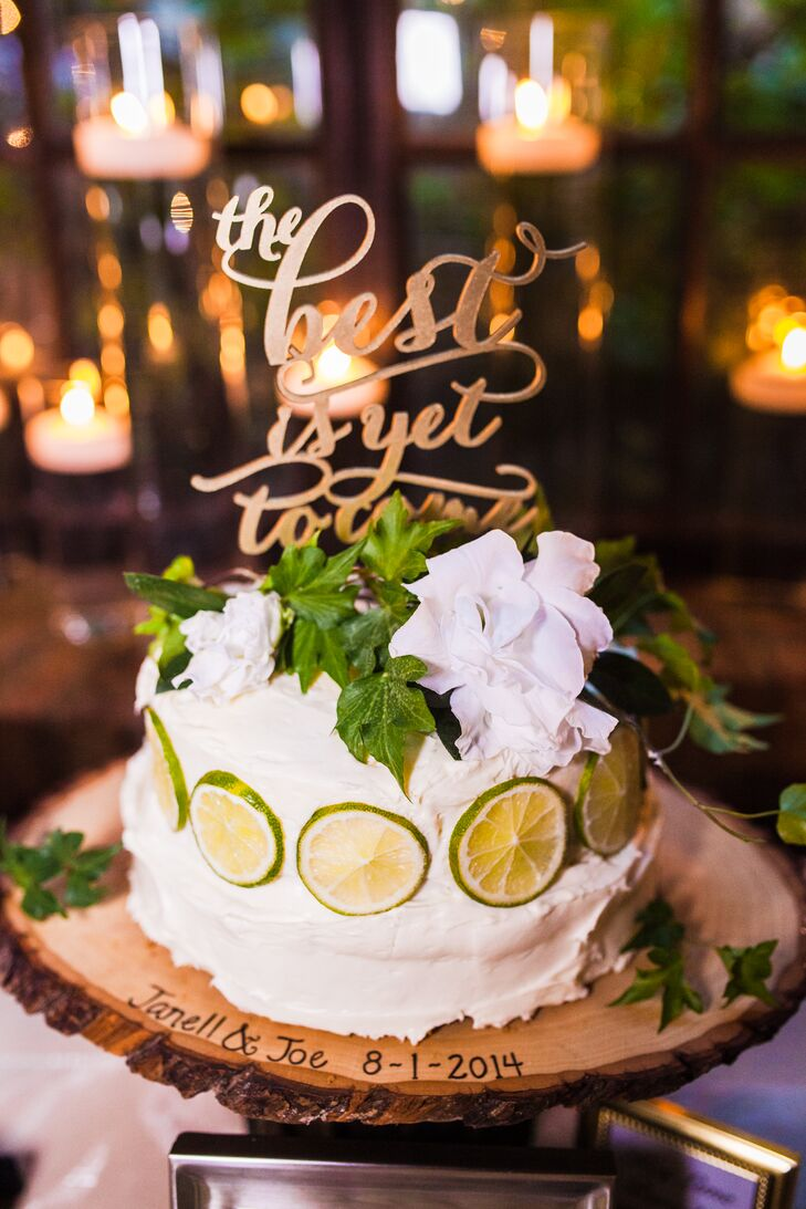 Cookie Crumb Cupcakes created this key lime wedding cake for the couple along with a complete dessert table.