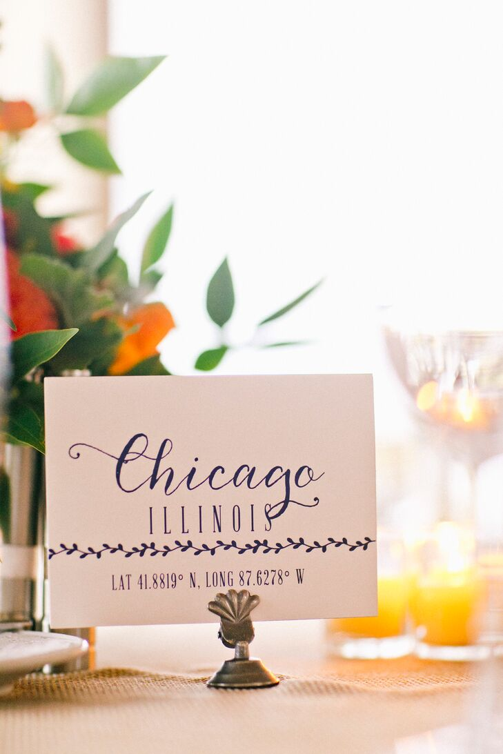 In line with their nautical theme, Amanda and Alex created custom table numbers that included destinations and map coordinates.