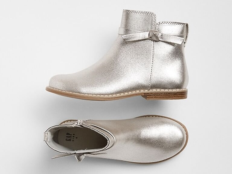 Silver boot flower girl shoes
