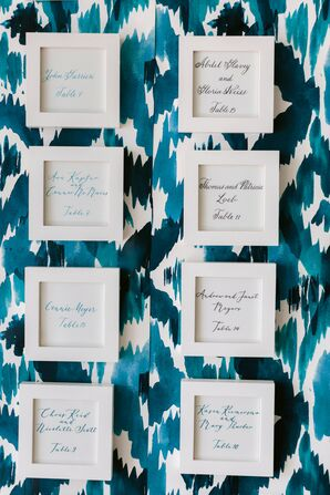 Seating Chart with Calligraphy, White Frames and Blue Background