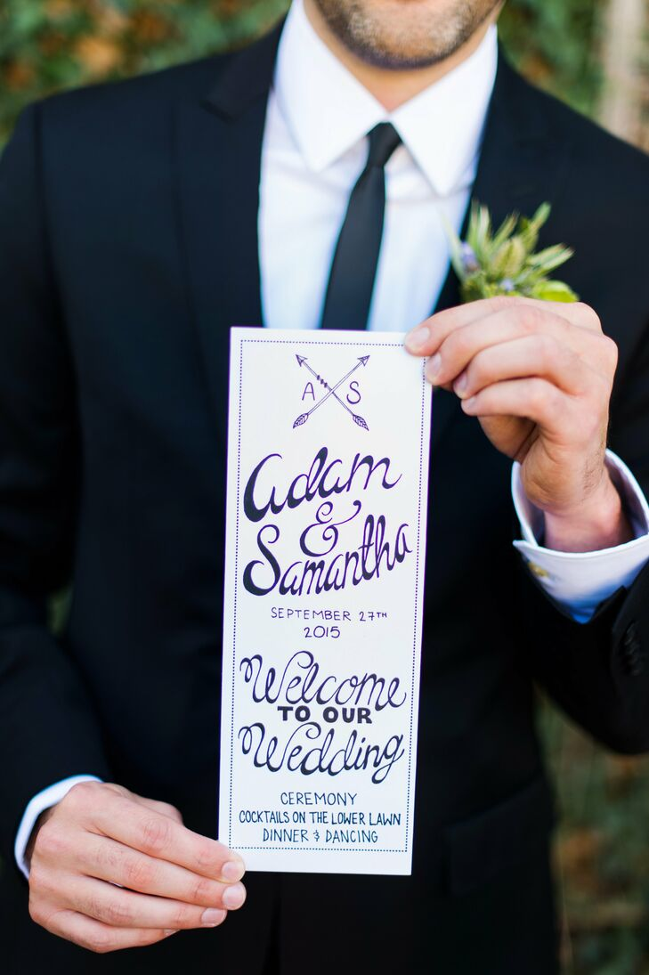 Hand-drawn programs featuring whimsical purple calligraphy and a customized arrow monogram were placed on each chair for the ceremony, providing guests the lowdown on the day's events.