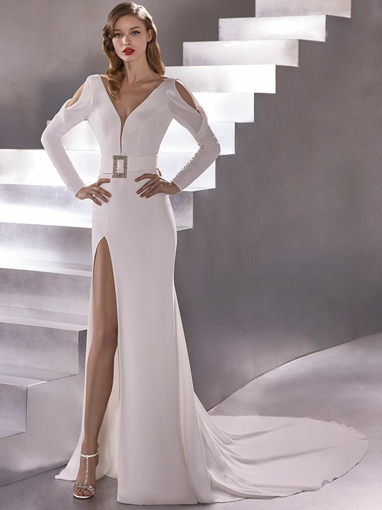 Atelier Provonias wedding dress cold-shoulder dress with belt