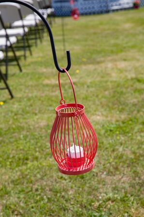 Red Wire Candle Lantern Aisle Decor
