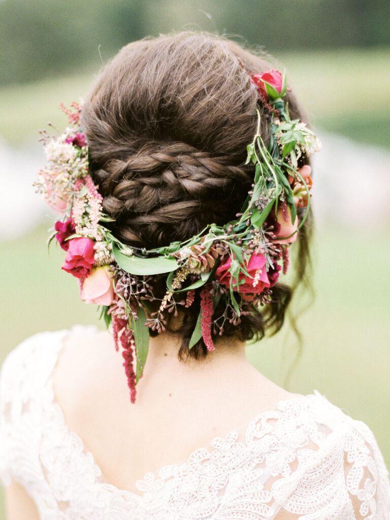 wedding braid hairstyles braided bun with flower crown