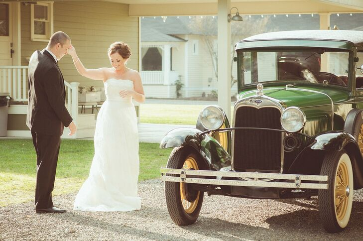 This classic car made the perfect vintage transportation for the bride and groom.
