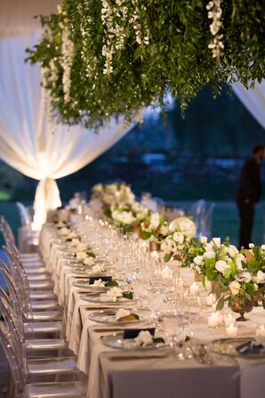 Tented Reception Decorated With Neutrals and Greenery