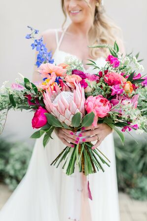 Colorful, Hand-Tied King Protea, Peony and Orchid Bouquet