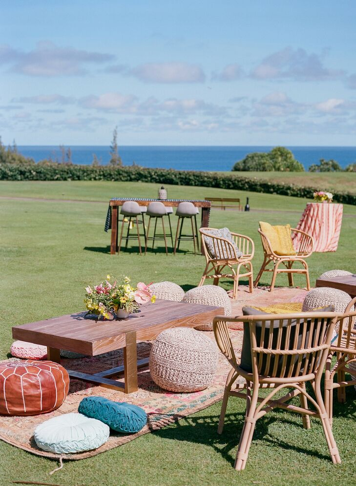 Boho Lounge Furniture at Post-Wedding Brunch in Hawaii