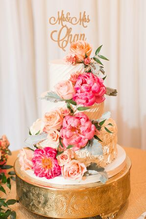 Dramatic Rose and Peony Draped Fondant Cake