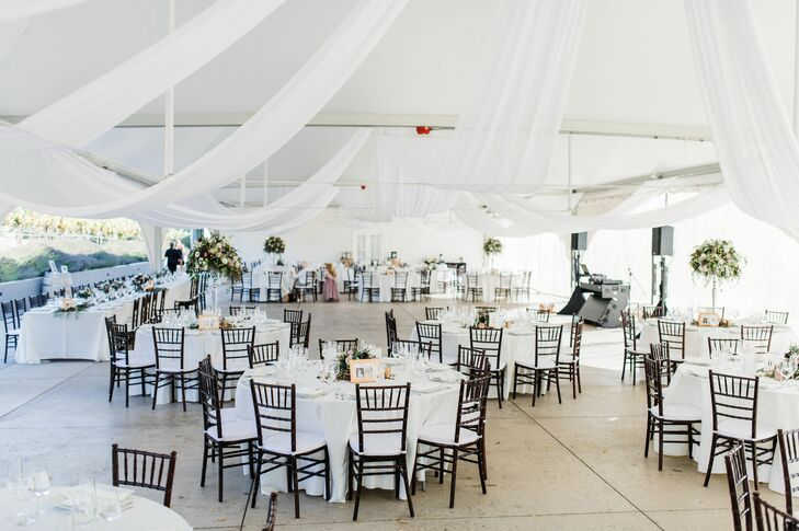 White Reception Tent with Dining Tables and Draping
