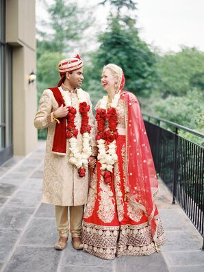 Interfaith Couple in Traditional Indian Wedding Attire