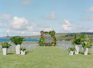 Wedding Ceremony with Leaf Arch in Kapalua, Hawaii