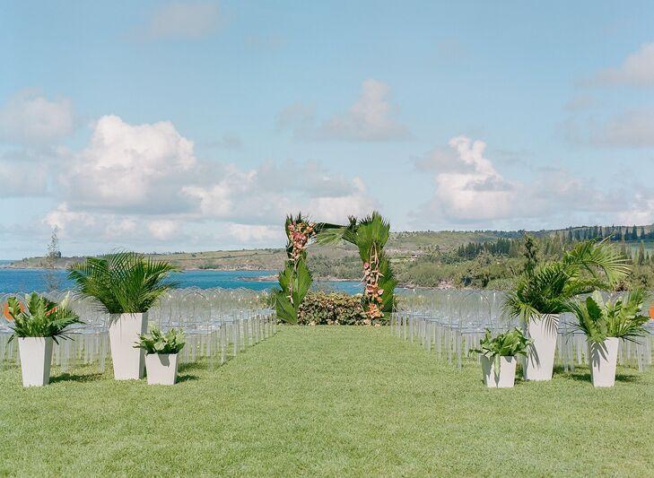 Wedding Ceremony with Leaf Arch in Kapalua, Hawaii