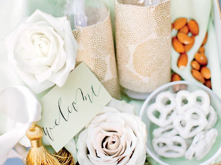 Utah wedding favors pretzels and almonds