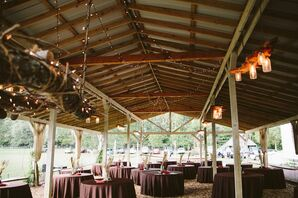 Rustic Covered Pavilion Reception Decor