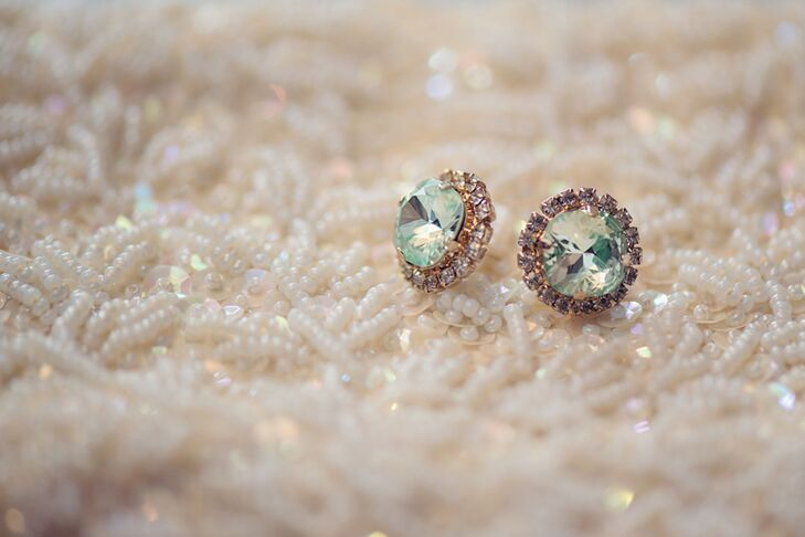 Green Crystal Earring Studs with Halo